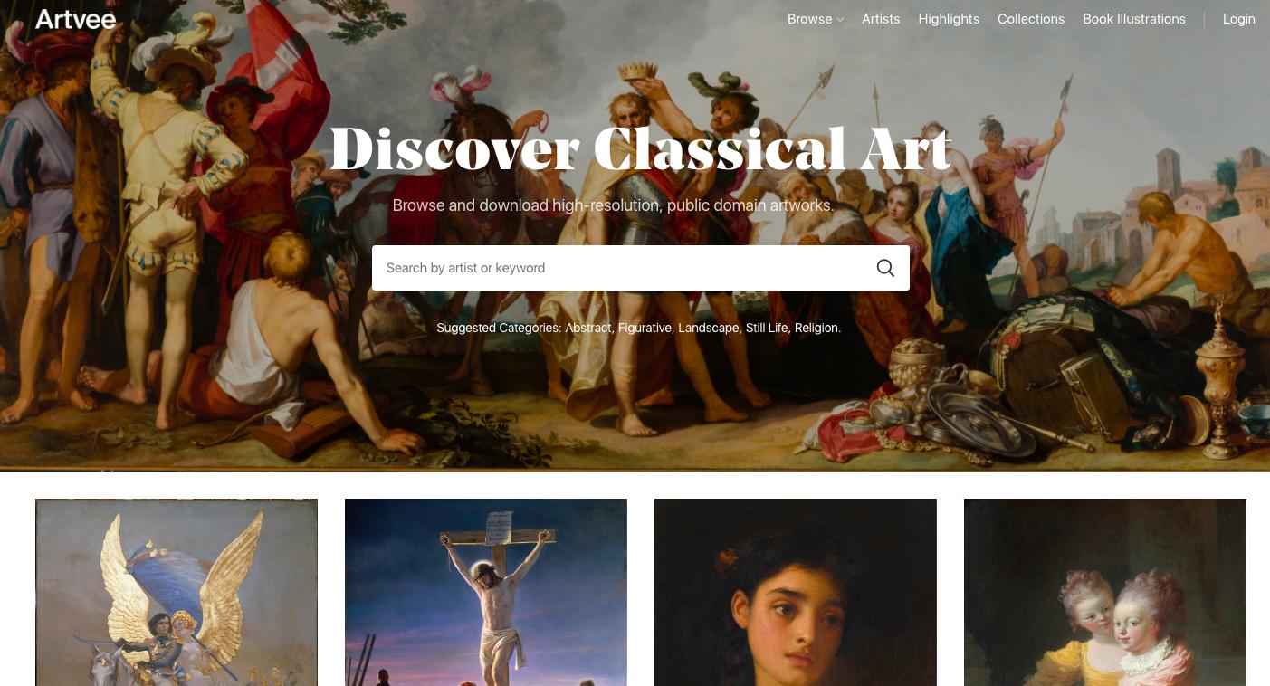 Artvee telecharger des images d'oeuvres classiques sous licences libre
